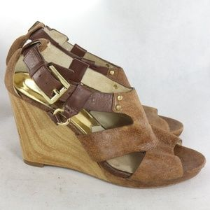 MICHAEL KORS Full Grain Leather Peep Toe Wedges